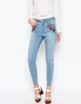 Asos RIDLEY Skinny Ankle Grazer Jeans in Surf Wash with Embroidery