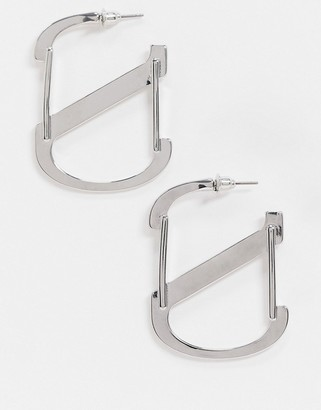 Topshop clip earrings in chunky silver