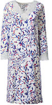 Classic Women's Plus Size 3/4 Sleeve Knee Length Print Nightgown-Ivory Multi Vines