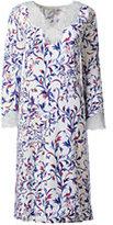 Lands' End Women's Petite 3/4 Sleeve Knee Length Nightgown-Ivory Multi Vines