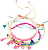 Panacea Beaded Tasseled Mini Stretch Bracelets, Set of 4, Multi