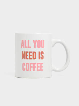 Nixon Typo All You Need Is Coffee Anytime Mug in White Pink