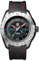 Luminox XCOR Aerospace Steel GMT 5120 Series Men's Quartz watch with Black dial featuring LLT light Technology 46 millimeters Stainless Steel case and Black Leather Strap XU.5127