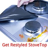TadaChef Stove Burner Covers Protectors - Get Restyled Stovetop, Feel Like New Gas Range / Burner Liners, Easy to Setup & Clean / Thickness No.1 / Black / Set of 4