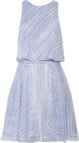 Halston Layered printed silk-chiffon mini dress