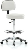 Height Adjustable Exam Stool with Basic Backrest and Foot Ring Perch Chairs & Stools Color: Adobe White Vinyl