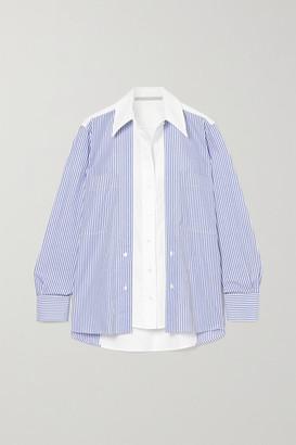 Stella McCartney Elaina Paneled Striped Cotton-poplin Shirt - Blue