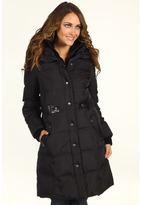 DKNY Pillow Collar Coat w/ Faux Leather Trim (Black) - Apparel