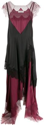 Lanvin Layered Lingerie-Style Asymmetric Dress