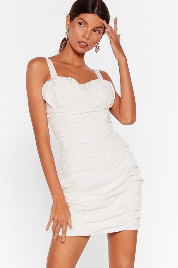 Nasty Gal Womens Ruche-ing Around Cupped Mini Dress - White - 12
