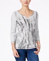 Karen Scott Printed Three-Quarter-Sleeve Top, Only at Macy's
