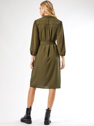 Dorothy Perkins Puff Sleeve Midi Shirtdress - Khaki