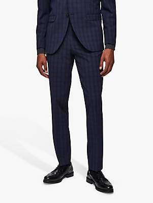 Selected Check Slim Fit Suit Trousers, Navy