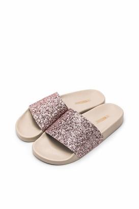 The White Brand Women's Glitter Open Toe Sandals Black (Black Black) 6.5 UK