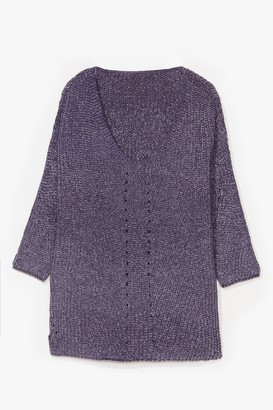 Nasty Gal Womens Luxe Good to Us Plus Knit Sweater - Grey