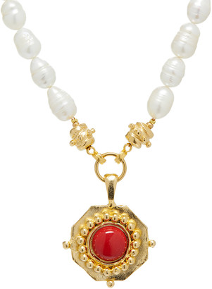 Susan Shaw Women's Necklaces Red - Red Coral & Cultured Pearl Pendant Necklace