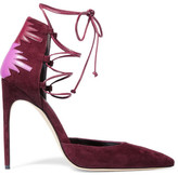 Brian Atwood Maka Lace-up Leather-paneled Suede Pumps - Burgundy
