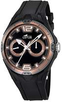 Lotus Men's Quartz Watch with Black Dial Analogue Display and Black Rubber Strap 18184/4