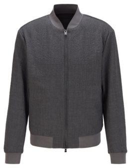 HUGO BOSS Slim-fit bomber jacket in seersucker fabric
