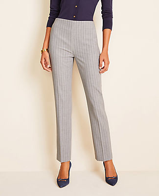 Ann Taylor The Petite Side-Zip Ankle Pant in Pinstripe Bi-Stretch