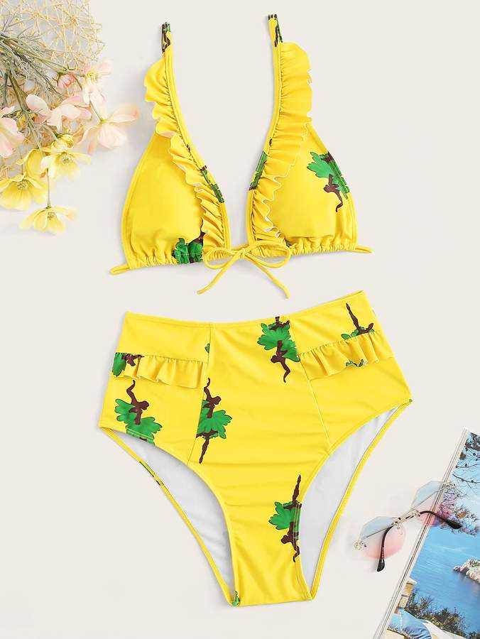 c9a2db64c68 Yellow High Waisted Swimsuit - ShopStyle