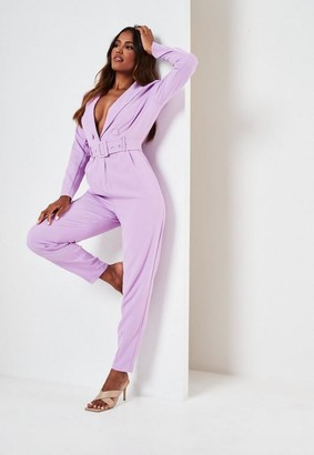 Missguided Lilac Tailored Belted Long Sleeve Romper
