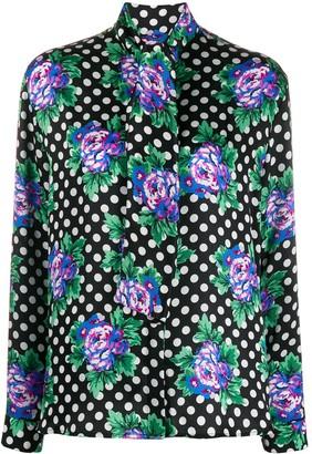 Balenciaga Floral And Polka-Dot Print Blouse