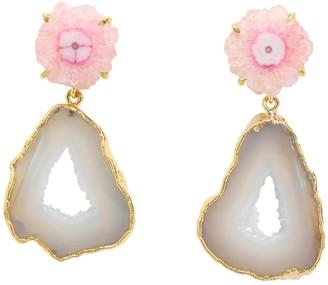 Yaa Yaa London Blush White Crystal Gemstone Gold 'Summer Love' Earrings