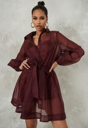 Missguided Burgundy Organza Skater Shirt Dress