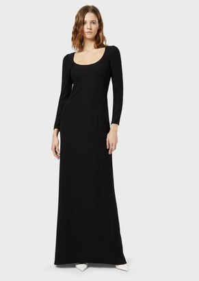 Emporio Armani Long Dress In Tech Cady With A Keyhole
