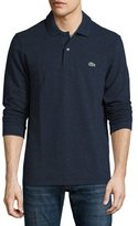 Lacoste Classic Chine Long-Sleeve Piqué Polo Shirt, Indigo Blue