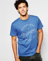 Quiksilver T-shirt With Boarding Apparel Print - Blue
