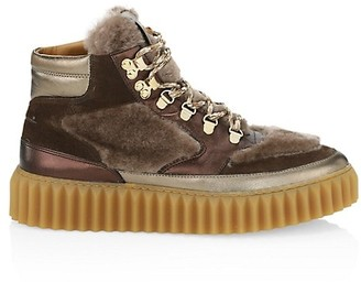 Voile Blanche Eva Faux Shearling, Suede & Metallic Leather Hiking Boots