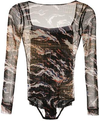 À La Garçonne Printed Fringed Bodysuit