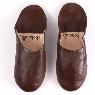 Bohemia Medium 3 Classic Colours Leather Slippers - Black - Brown