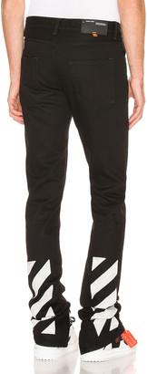Off-White Slim Split Jeans in Black & White | FWRD