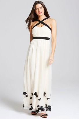 Little Mistress Beige Petal Applique Maxi Dress