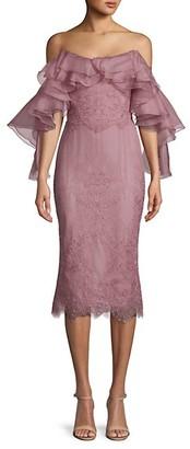 Marchesa Ruffled Mesh Sheath Dress