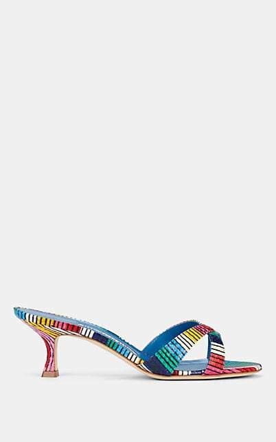 Manolo Blahnik Women's Callamu Snakeskin Mules - Turquoise Snake