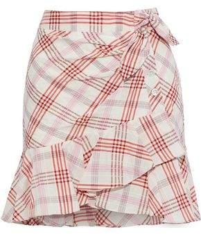 Veronica Beard Kaia Embroidered Checked Cotton-blend Mini Skirt