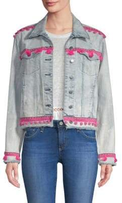 Generation Love Fran Pom Pom Cropped Denim Jacket