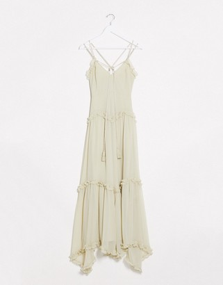 ASOS DESIGN strappy tiered maxi with ruffle detail and rope trim in soft Sage
