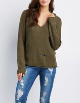 Charlotte Russe Shaker Stitch Destroyed Hoodie Sweater