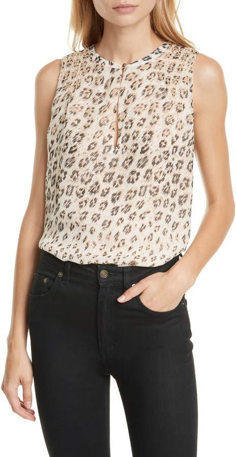 Joie Corie Leopard Print Sleeveless Silk Top