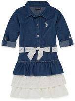 U.S. Polo Assn. Belted Long Sleeve Roll Tab Sleeve Skater Dress - Toddler Girls