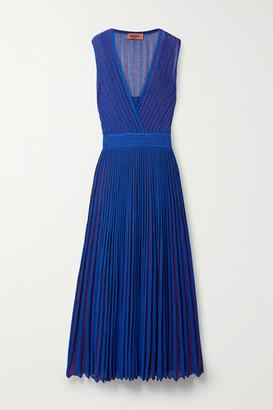 Missoni Pleated Striped Metallic Crochet-knit Maxi Dress - Royal blue