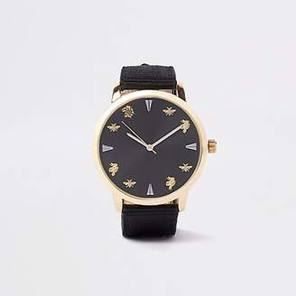 River Island Black and gold tone fabric strap watch