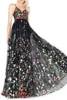 Mac Duggal Floral Chiffon V-Neck Gown