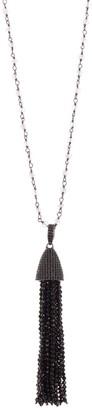 ADORNIA Moonstone Rosary Bead & Black Spinel Tassel Pendant Necklace