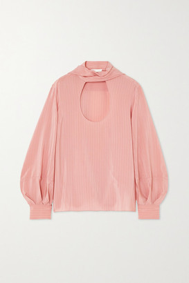 Chloé Tie-neck Pinstriped Silk Blouse - Pink